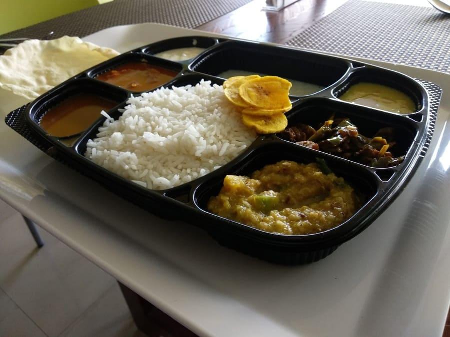 shillong vegetarian food thali rice dall banana chips southern taste